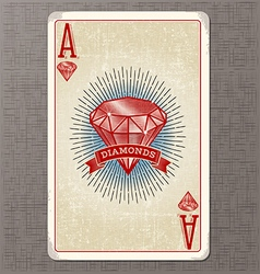 Ace diamonds vintage playing card vector