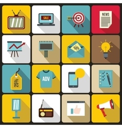Advertisement icons set flat style vector image