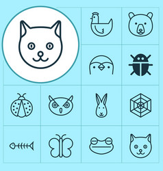 Animal icons set with night fowl grizzly toad vector