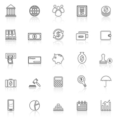 Banking line icons with reflect on white vector