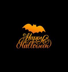 Bat with happy halloween vector