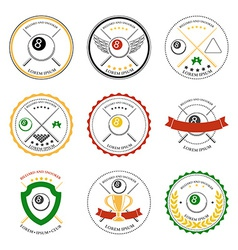 Billiard design elements and badges set vector image