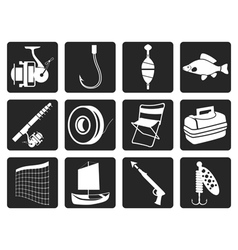 Black Fishing and holiday icons vector