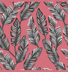 black white banana leaves seamless pink background vector image
