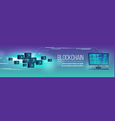 blockchain poster banner with bitcoins vector image