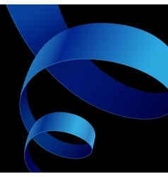 Blue fabric curved ribbon on black background vector