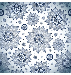 Blue sunflower pattern vector image