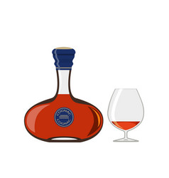 Bottle of cognac with glass isolated on white vector