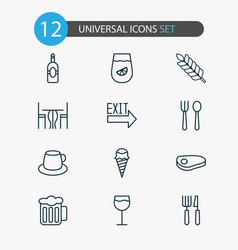 cafe icons set with tea exit sign table and vector image