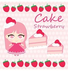 Cake girl strawberry vector