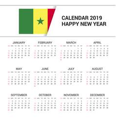 Calendar 2019 senegal flag background english vector