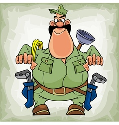 cartoon fat man plumber with a mustache with tools vector image