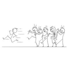 Cartoon man running away from crowd undead vector