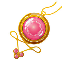 cartoon pendant with pink crystal gem vector image