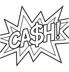 Cash word comic book coloring vector
