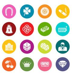 Casino icons set colorful circles vector