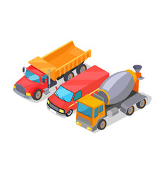 Cement-mixer and trucks set vector