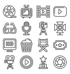 cinema and movie icons set on white background vector image