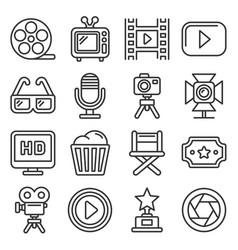 cinema and movie icons set on white background vector image