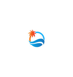 coconout tree beach holiday logo vector image