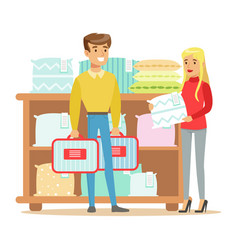 Couple buying bedsheets for bedroom smiling vector