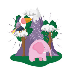 cute bird toucan with elephant in the landscape vector image