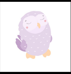 cute kawaii owl violet in flat style childrens vector image