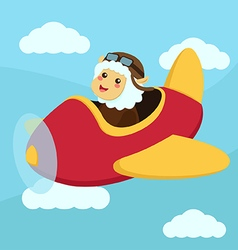 Cute Sheep Aviator Flying vector image