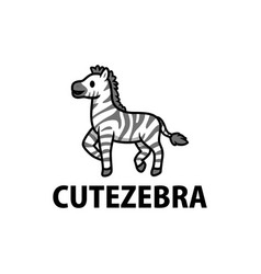 cute zebra cartoon logo icon vector image