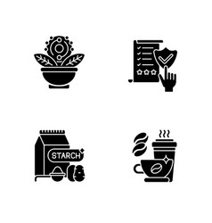 Diet black glyph icons set on white space vector