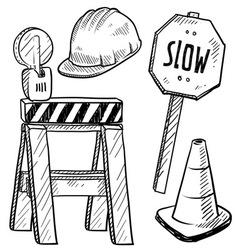 Doodle road construction vector