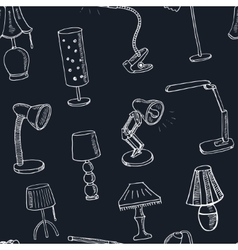 Doodle seamless pattern with lamps vector image