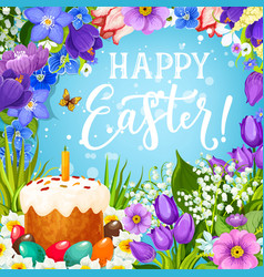 Easter holiday eggs and cake with flower frame vector