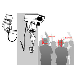 face detection with camera system vector image