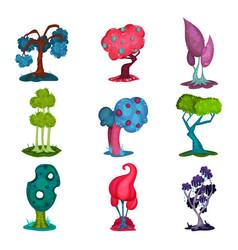 fairytale trees set fantasy nature landscape vector image