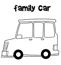 Family car with hand draw vector