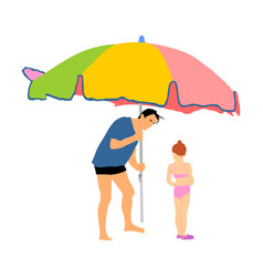 Father and daughter enjoying on beach sunbathing vector