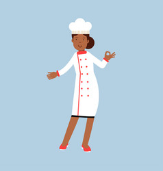 Female chef cook character in white uniform giving vector