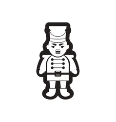 Flat icon in black and white nutcracker vector