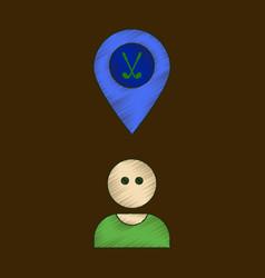 Flat shading style icon golfer logo vector