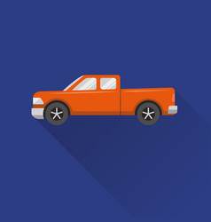 flat style pickup truck icon vector image