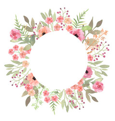 Flowers frame circle roses card on white backdrop vector
