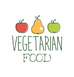 Fresh Vegan Food Promotional Sign With Two Apples vector image