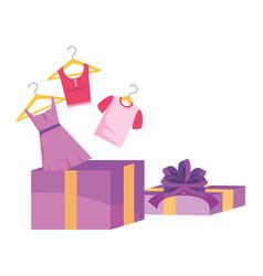 Gift and cloth design vector
