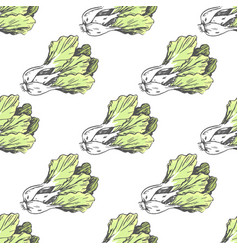 Green graphic lettuce on white endless texture vector