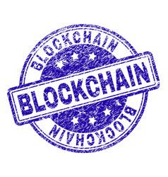 Grunge textured blockchain stamp seal vector