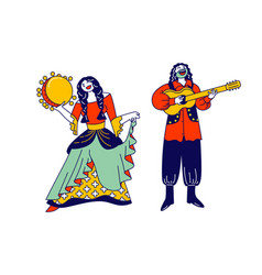 Gypsy couple dressed in ethnic wear dancing and vector