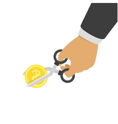hand cutting gold coin vector image