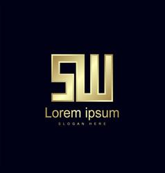 initial letter sw logo template design vector image