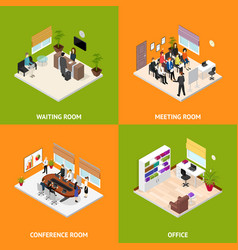 interior office room poster card set isometric vector image